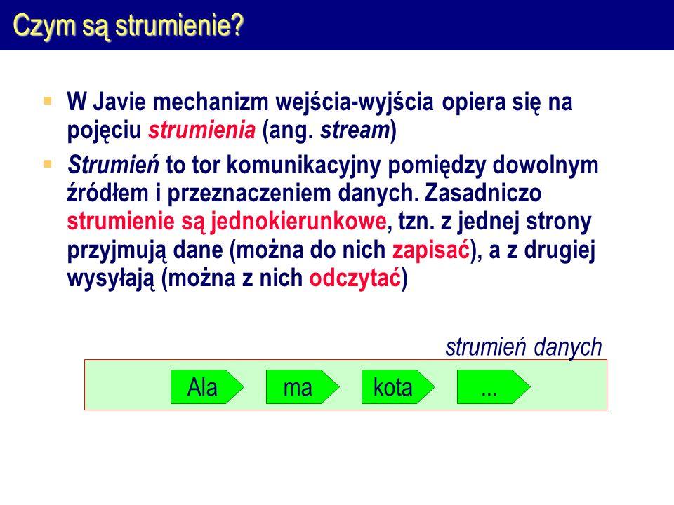 Odczyt z pliku binarnego public class OdczytBinarny { public static void main(String[] args) { try { FileInputStream we = new FileInputStream( x ); byte bajt; while ((bajt = we.read()) != -1 { //...