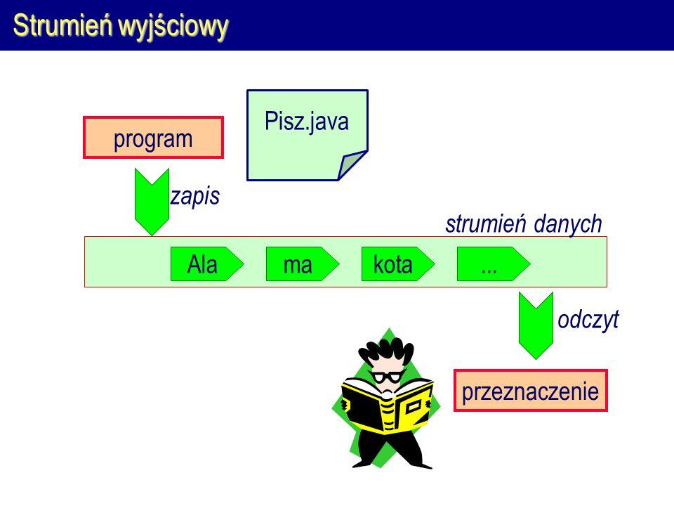 Strumienie w Javie  Ze względu na rodzaj przetwarzanych danych strumienie w Javie dzielą się na  strumienie znakowe, służące do przesyłania znaków Unicode  strumienie binarne, służące do przesyłania dowolnych bajtów  Cykl życia strumienia składa się z trzech faz: utworzenia, odczytu/zapisu, zamknięcia strumieńznakowybinarny wejściowy java.io.Readerjava.io.InputStream wyjściowy java.io.Writerjava.io.OutputStream