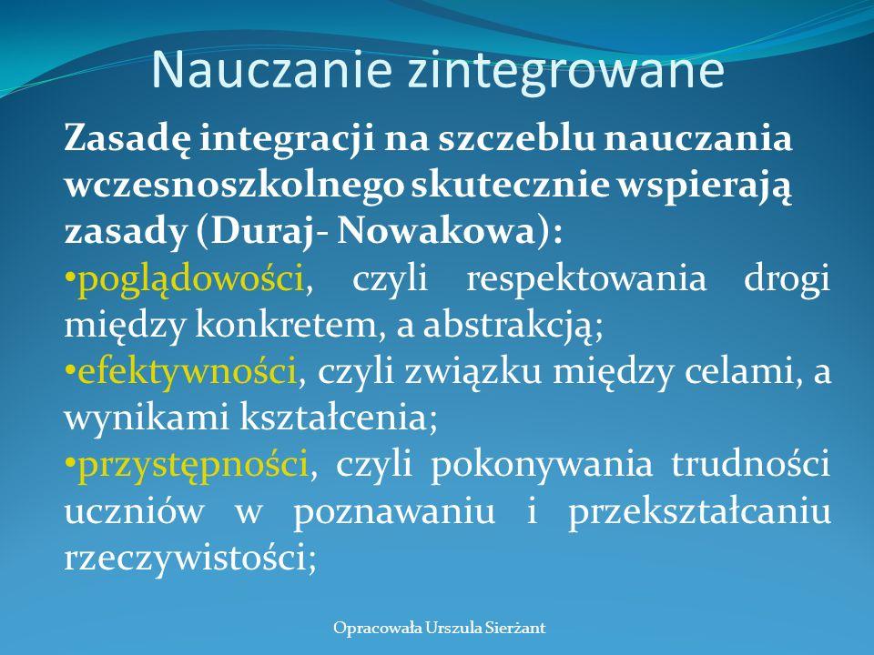 Nauczanie zintegrowane Zasadę integracji na szczeblu nauczania wczesnoszkolnego skutecznie wspierają zasady (Duraj- Nowakowa): poglądowości, czyli res