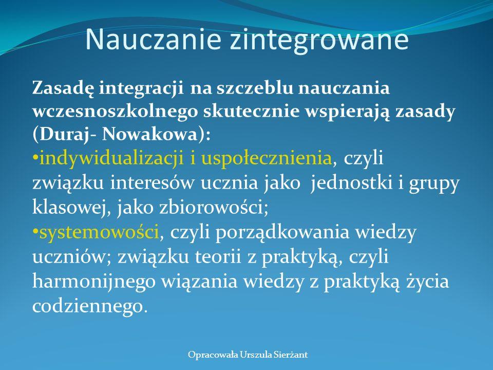 Nauczanie zintegrowane Zasadę integracji na szczeblu nauczania wczesnoszkolnego skutecznie wspierają zasady (Duraj- Nowakowa): indywidualizacji i uspo