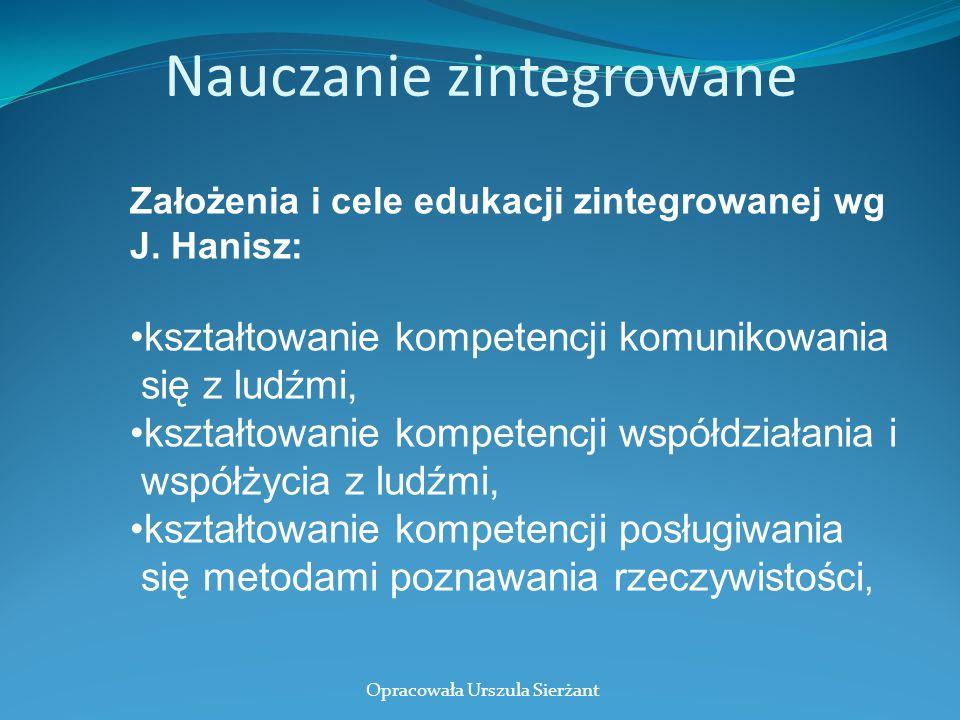 Nauczanie zintegrowane Założenia i cele edukacji zintegrowanej wg J. Hanisz: kształtowanie kompetencji komunikowania się z ludźmi, kształtowanie kompe