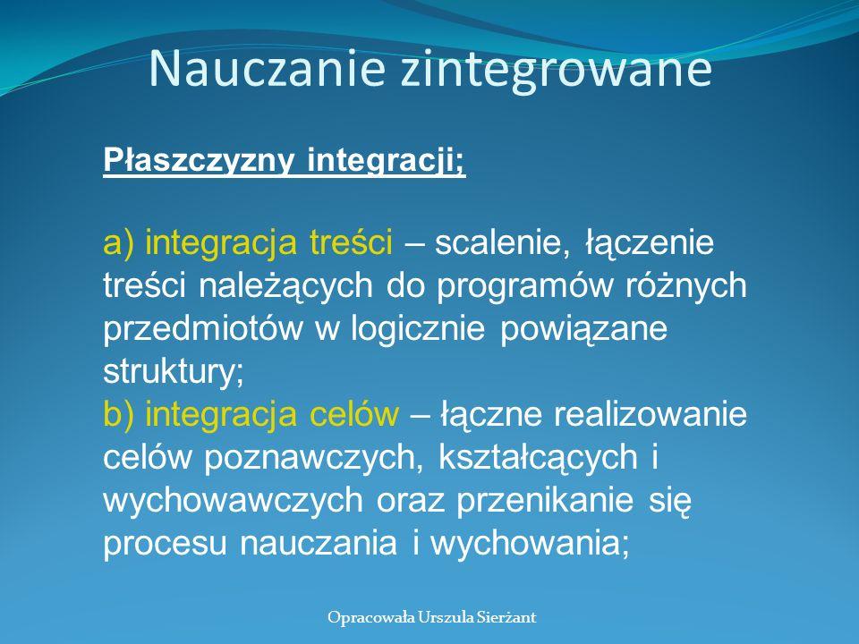 Nauczanie zintegrowane Płaszczyzny integracji; a) integracja treści – scalenie, łączenie treści należących do programów różnych przedmiotów w logiczni