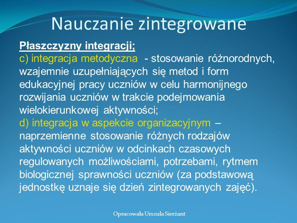 Nauczanie zintegrowane Płaszczyzny integracji; c) integracja metodyczna - stosowanie różnorodnych, wzajemnie uzupełniających się metod i form edukacyj