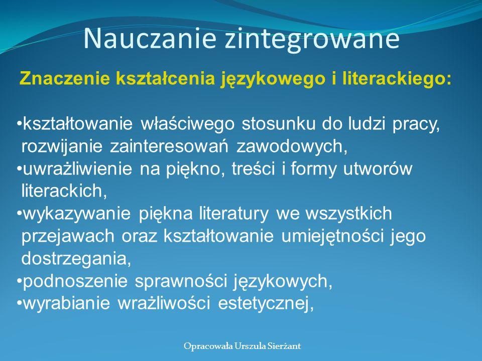 Nauczanie zintegrowane Znaczenie kształcenia językowego i literackiego: kształtowanie właściwego stosunku do ludzi pracy, rozwijanie zainteresowań zaw