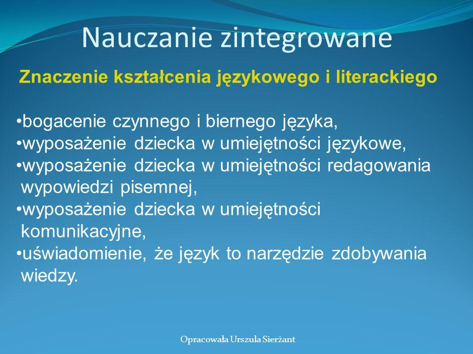 Nauczanie zintegrowane Znaczenie kształcenia językowego i literackiego bogacenie czynnego i biernego języka, wyposażenie dziecka w umiejętności języko