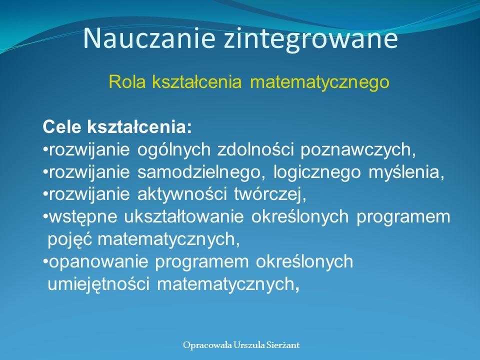 Nauczanie zintegrowane Rola kształcenia matematycznego Cele kształcenia: rozwijanie ogólnych zdolności poznawczych, rozwijanie samodzielnego, logiczne