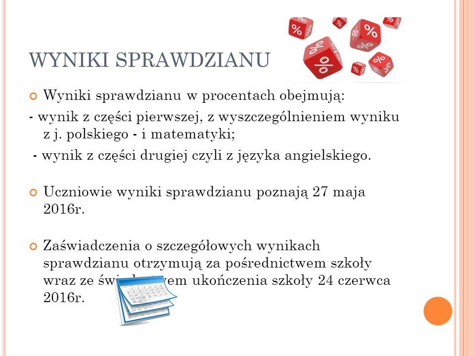WYNIKI SPRAWDZIANU Wyniki sprawdzianu w procentach obejmują: - wynik z części pierwszej, z wyszczególnieniem wyniku z j. polskiego - i matematyki; - w