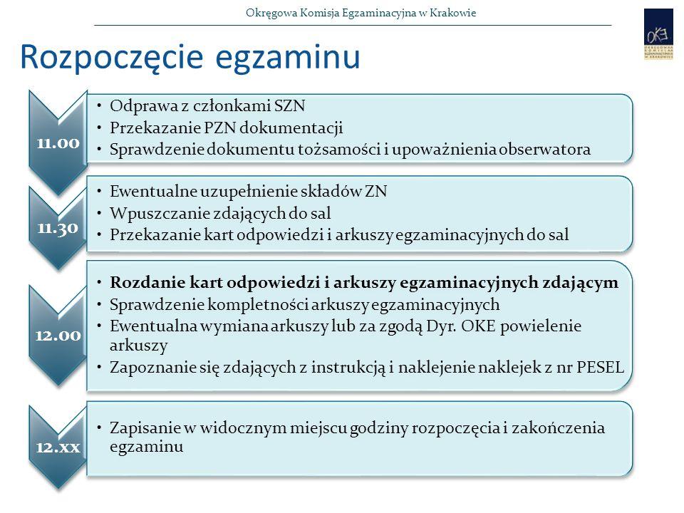 Okręgowa Komisja Egzaminacyjna w Krakowie Rozpoczęcie egzaminu 11.00 Odprawa z członkami SZN Przekazanie PZN dokumentacji Sprawdzenie dokumentu tożsamości i upoważnienia obserwatora 11.30 Ewentualne uzupełnienie składów ZN Wpuszczanie zdających do sal Przekazanie kart odpowiedzi i arkuszy egzaminacyjnych do sal 12.00 Rozdanie kart odpowiedzi i arkuszy egzaminacyjnych zdającym Sprawdzenie kompletności arkuszy egzaminacyjnych Ewentualna wymiana arkuszy lub za zgodą Dyr.