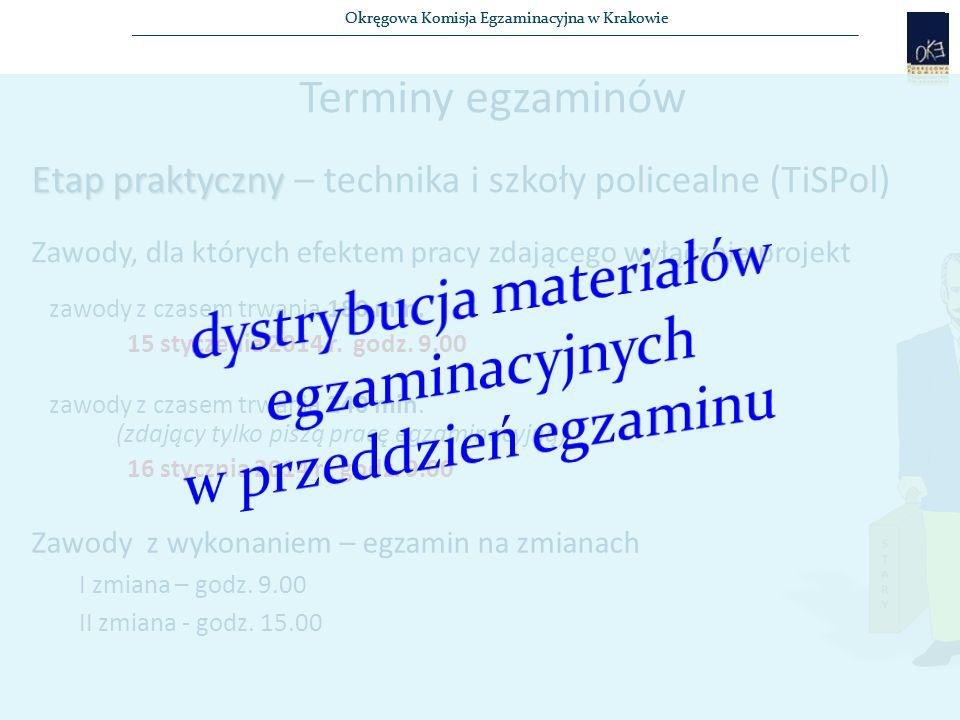 Okręgowa Komisja Egzaminacyjna w Krakowie Terminy egzaminów Etap praktyczny Etap praktyczny – technika i szkoły policealne (TiSPol) Zawody, dla których efektem pracy zdającego wyłącznie projekt zawody z czasem trwania 180 min.