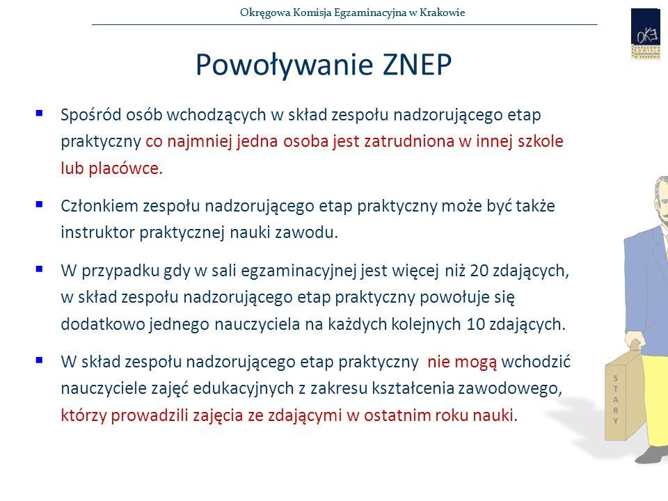 Okręgowa Komisja Egzaminacyjna w Krakowie Powoływanie ZNEP  Spośród osób wchodzących w skład zespołu nadzorującego etap praktyczny co najmniej jedna osoba jest zatrudniona w innej szkole lub placówce.