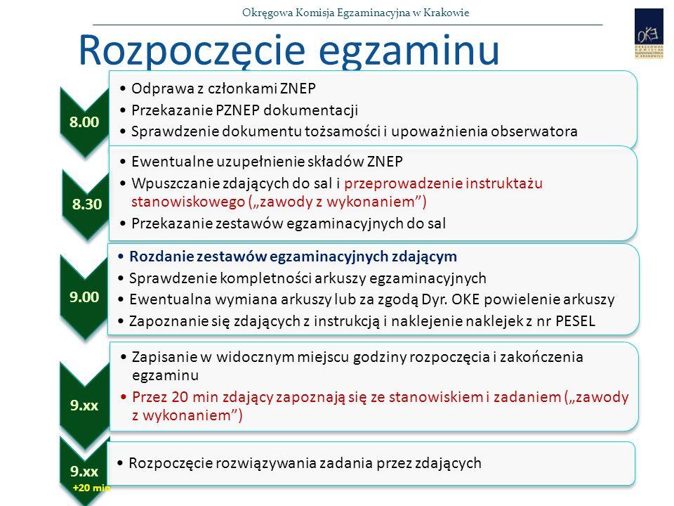 """Okręgowa Komisja Egzaminacyjna w Krakowie Rozpoczęcie egzaminu 8.00 Odprawa z członkami ZNEP Przekazanie PZNEP dokumentacji Sprawdzenie dokumentu tożsamości i upoważnienia obserwatora 8.30 Ewentualne uzupełnienie składów ZNEP Wpuszczanie zdających do sal i przeprowadzenie instruktażu stanowiskowego (""""zawody z wykonaniem ) Przekazanie zestawów egzaminacyjnych do sal 9.00 Rozdanie zestawów egzaminacyjnych zdającym Sprawdzenie kompletności arkuszy egzaminacyjnych Ewentualna wymiana arkuszy lub za zgodą Dyr."""