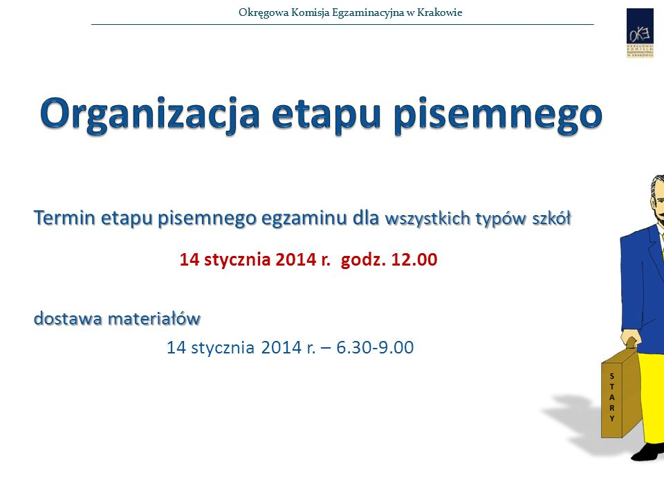 Okręgowa Komisja Egzaminacyjna w Krakowie Przerwanie egzaminu W przypadku:  stwierdzenia niesamodzielnego rozwiązywania zadań egzaminacyjnych przez zdającego lub  wniesienia lub korzystania przez zdającego w sali egzaminacyjnej z urządzenia telekomunikacyjnego, lub  zakłócania prawidłowego przebiegu egzaminu zawodowego, przewodniczący Szkolnego Zespołu Nadzorującego przerywa egzamin zdającego i unieważnia etap pisemny egzaminu tego zdającego.
