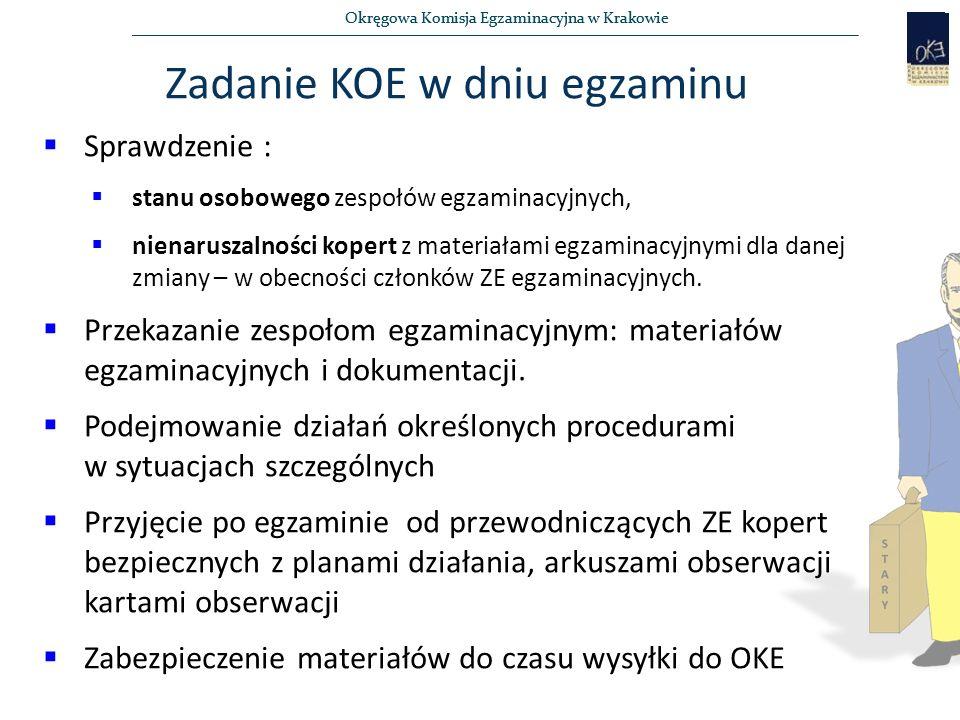 Okręgowa Komisja Egzaminacyjna w Krakowie  Sprawdzenie :  stanu osobowego zespołów egzaminacyjnych,  nienaruszalności kopert z materiałami egzaminacyjnymi dla danej zmiany – w obecności członków ZE egzaminacyjnych.