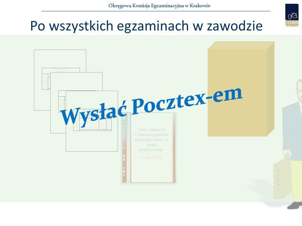 Okręgowa Komisja Egzaminacyjna w Krakowie Po wszystkich egzaminach w zawodzie 4 Lista zdających z harmonogramem przystępowania do etapu praktycznego w zawodzie
