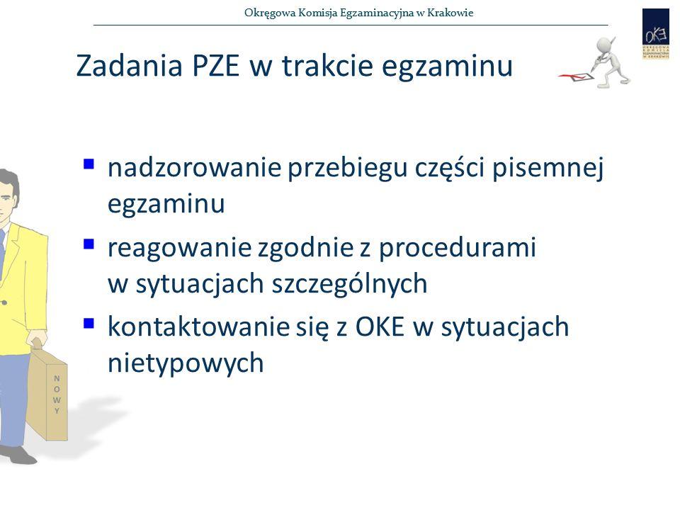 Okręgowa Komisja Egzaminacyjna w Krakowie Zadania PZE w trakcie egzaminu  nadzorowanie przebiegu części pisemnej egzaminu  reagowanie zgodnie z procedurami w sytuacjach szczególnych  kontaktowanie się z OKE w sytuacjach nietypowych