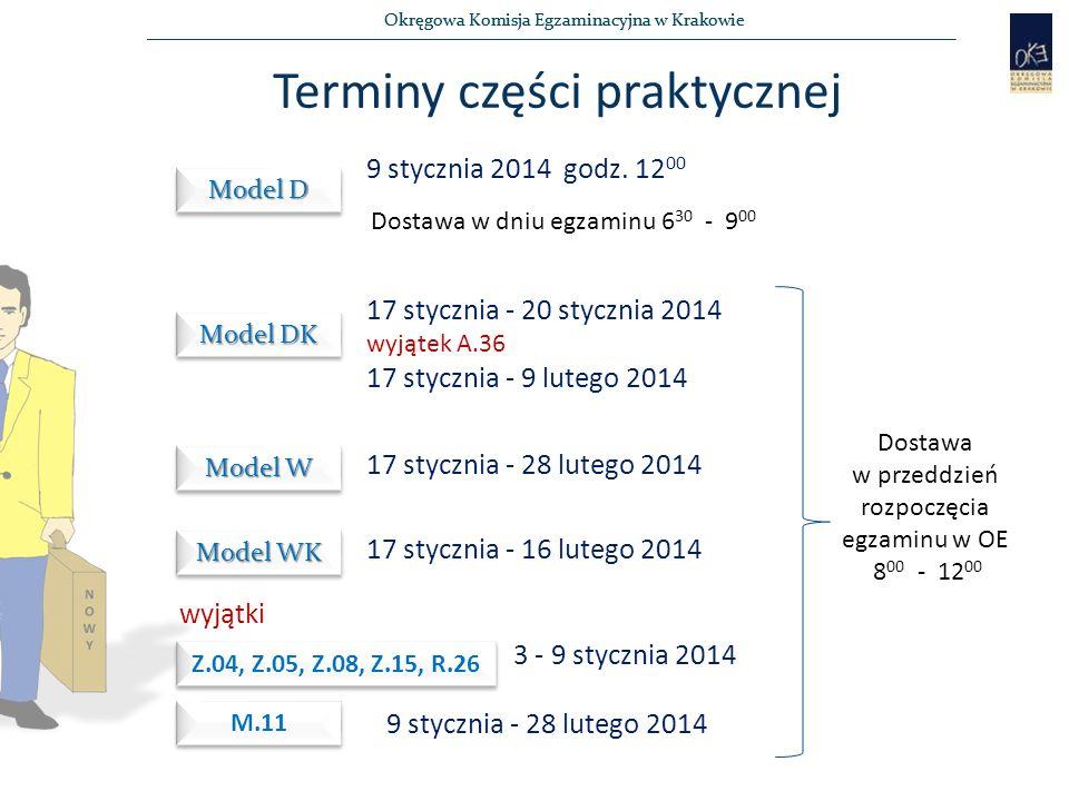 Okręgowa Komisja Egzaminacyjna w Krakowie Terminy części praktycznej Model D 9 stycznia 2014 godz.