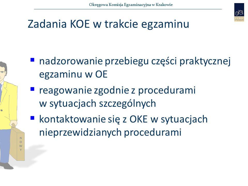 Okręgowa Komisja Egzaminacyjna w Krakowie Zadania KOE w trakcie egzaminu  nadzorowanie przebiegu części praktycznej egzaminu w OE  reagowanie zgodnie z procedurami w sytuacjach szczególnych  kontaktowanie się z OKE w sytuacjach nieprzewidzianych procedurami