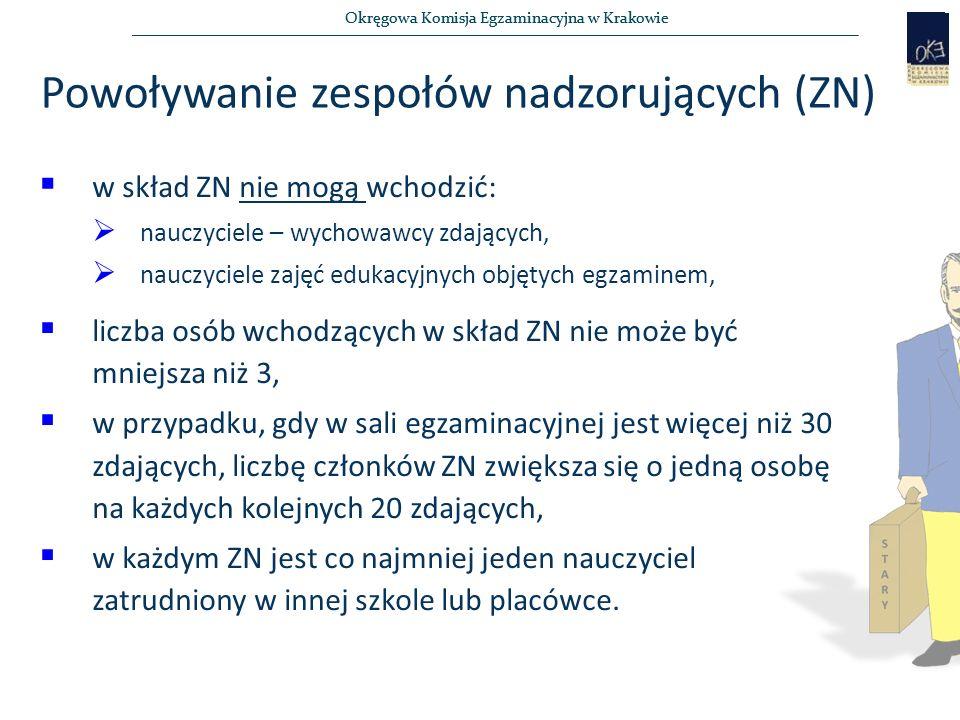 Okręgowa Komisja Egzaminacyjna w Krakowie Powoływanie zespołów nadzorujących (ZN)  w skład ZN nie mogą wchodzić:  nauczyciele – wychowawcy zdających,  nauczyciele zajęć edukacyjnych objętych egzaminem,  liczba osób wchodzących w skład ZN nie może być mniejsza niż 3,  w przypadku, gdy w sali egzaminacyjnej jest więcej niż 30 zdających, liczbę członków ZN zwiększa się o jedną osobę na każdych kolejnych 20 zdających,  w każdym ZN jest co najmniej jeden nauczyciel zatrudniony w innej szkole lub placówce.