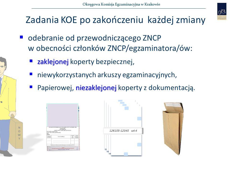 Okręgowa Komisja Egzaminacyjna w Krakowie Zadania KOE po zakończeniu każdej zmiany  odebranie od przewodniczącego ZNCP w obecności członków ZNCP/egzaminatora/ów:  zaklejonej  zaklejonej koperty bezpiecznej,   niewykorzystanych arkuszy egzaminacyjnych, niezaklejonej  Papierowej, niezaklejonej koperty z dokumentacją.