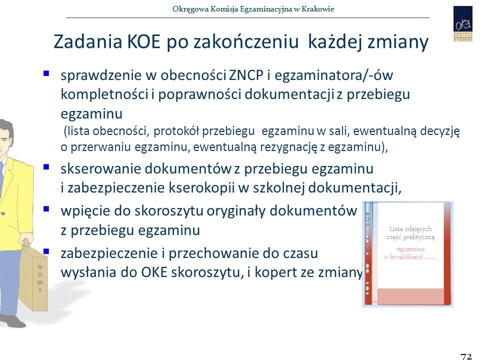 Okręgowa Komisja Egzaminacyjna w Krakowie  sprawdzenie w obecności ZNCP i egzaminatora/-ów kompletności i poprawności dokumentacji z przebiegu egzaminu (lista obecności, protokół przebiegu egzaminu w sali, ewentualną decyzję o przerwaniu egzaminu, ewentualną rezygnację z egzaminu),  skserowanie dokumentów z przebiegu egzaminu i zabezpieczenie kserokopii w szkolnej dokumentacji,  wpięcie do skoroszytu oryginały dokumentów z przebiegu egzaminu  zabezpieczenie i przechowanie do czasu wysłania do OKE skoroszytu, i kopert ze zmiany.
