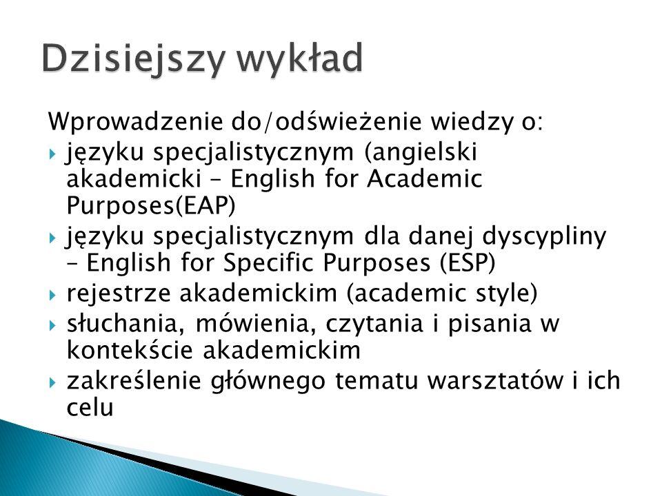  Złożone zdania  Specjalistyczne słownictwo  Styl formalny  Precyzja  Jasność  Poprawność językowa  Obiektywizm  Ostrożny wybór słownictwa (tzw.