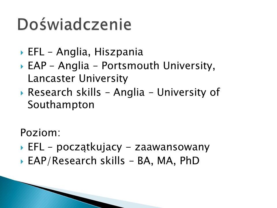  EFL – Anglia, Hiszpania  EAP – Anglia – Portsmouth University, Lancaster University  Research skills – Anglia – University of Southampton Poziom:  EFL – początkujacy - zaawansowany  EAP/Research skills – BA, MA, PhD