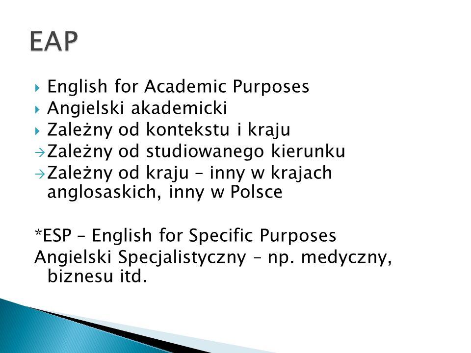  English for Academic Purposes  Angielski akademicki  Zależny od kontekstu i kraju  Zależny od studiowanego kierunku  Zależny od kraju – inny w krajach anglosaskich, inny w Polsce *ESP – English for Specific Purposes Angielski Specjalistyczny – np.