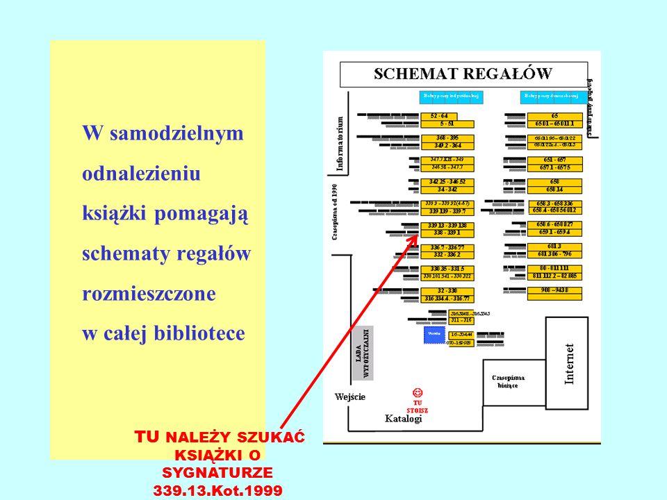 W samodzielnym odnalezieniu książki pomagają schematy regałów rozmieszczone w całej bibliotece TU NALEŻY SZUKAĆ KSIĄŻKI O SYGNATURZE 339.13.Kot.1999