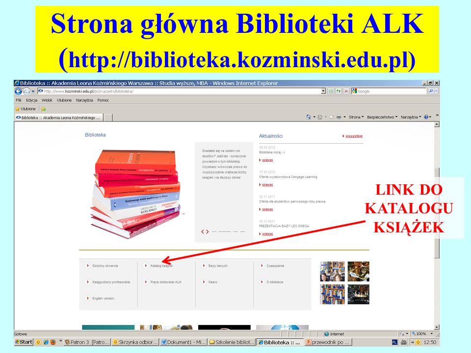 Aby skorzystać z katalogu książek należy kliknąć w odpowiedni link.