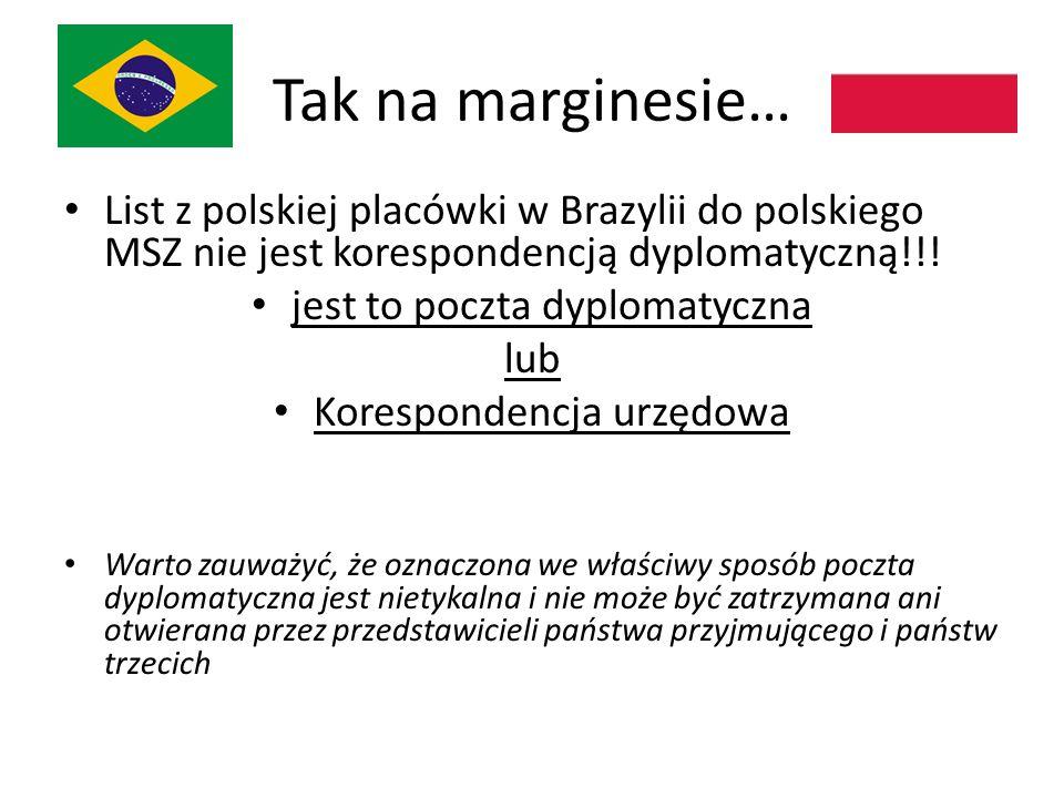 Tak na marginesie… List z polskiej placówki w Brazylii do polskiego MSZ nie jest korespondencją dyplomatyczną!!.