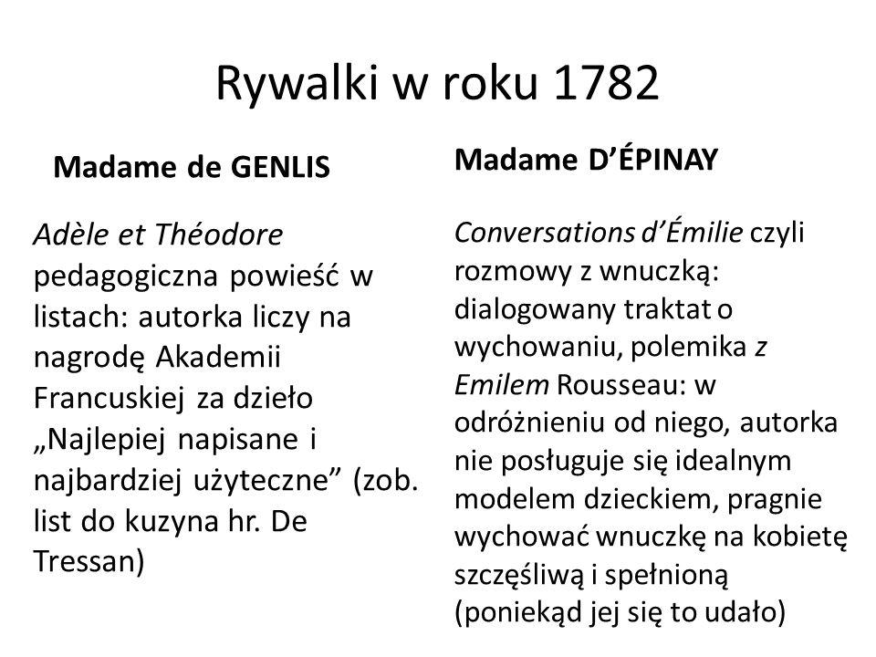 """Rywalki w roku 1782 Madame de GENLIS Adèle et Théodore pedagogiczna powieść w listach: autorka liczy na nagrodę Akademii Francuskiej za dzieło """"Najlepiej napisane i najbardziej użyteczne (zob."""