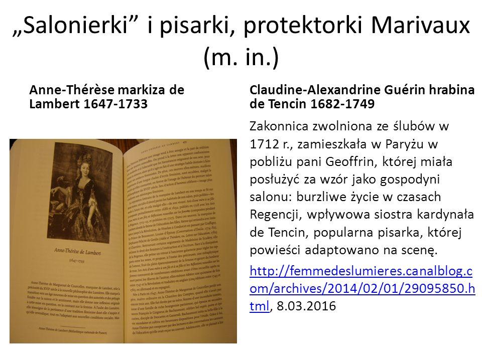 """Salonierki i pisarki, protektorki Marivaux (m."