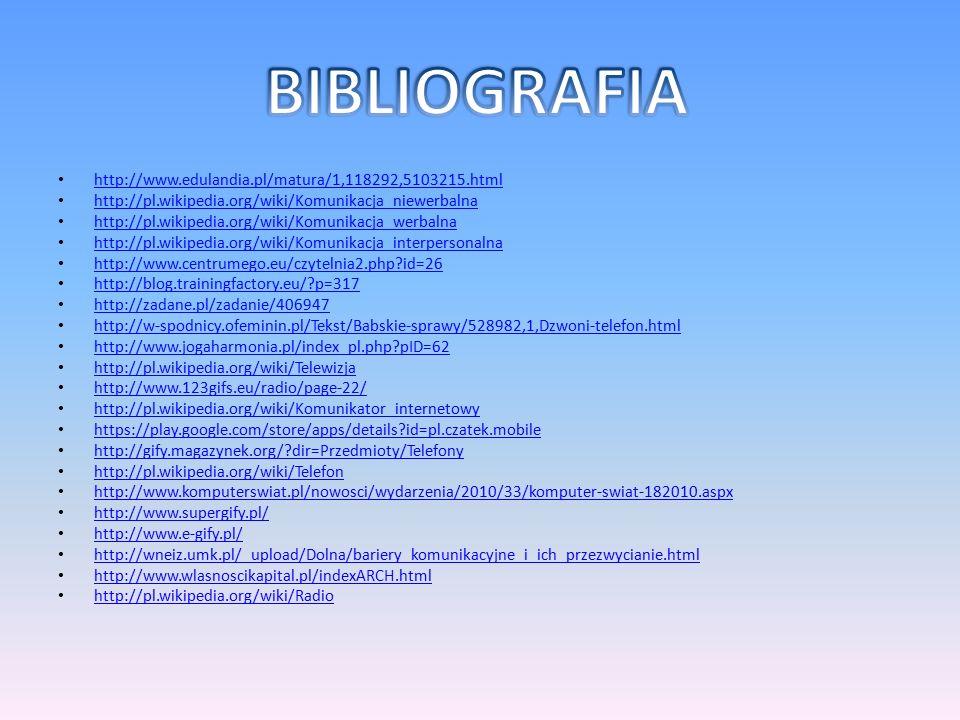 http://www.edulandia.pl/matura/1,118292,5103215.html http://pl.wikipedia.org/wiki/Komunikacja_niewerbalna http://pl.wikipedia.org/wiki/Komunikacja_wer