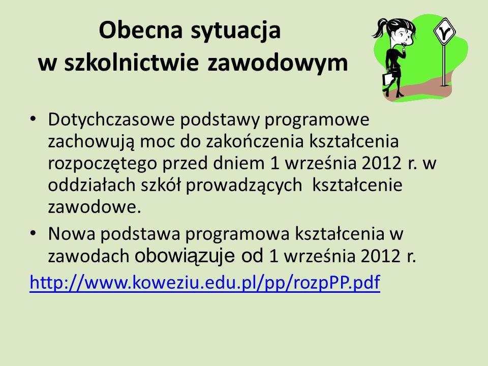 Obecna sytuacja w szkolnictwie zawodowym Dotychczasowe podstawy programowe zachowują moc do zakończenia kształcenia rozpoczętego przed dniem 1 września 2012 r.