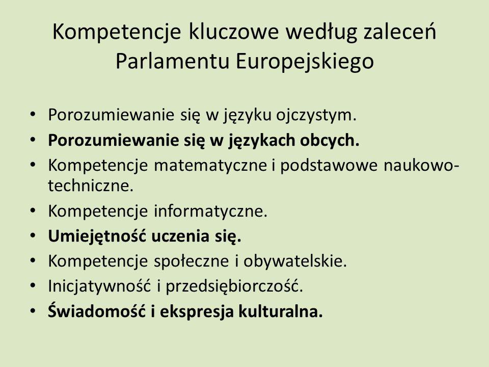 Kompetencje kluczowe według zaleceń Parlamentu Europejskiego Porozumiewanie się w języku ojczystym.