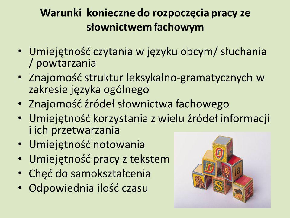 Warunki konieczne do rozpoczęcia pracy ze słownictwem fachowym Umiejętność czytania w języku obcym/ słuchania / powtarzania Znajomość struktur leksykalno-gramatycznych w zakresie języka ogólnego Znajomość źródeł słownictwa fachowego Umiejętność korzystania z wielu źródeł informacji i ich przetwarzania Umiejętność notowania Umiejętność pracy z tekstem Chęć do samokształcenia Odpowiednia ilość czasu