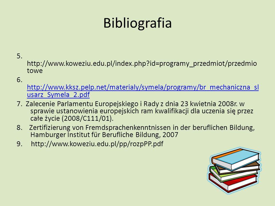 Bibliografia 5. http://www.koweziu.edu.pl/index.php id=programy_przedmiot/przedmio towe 6.