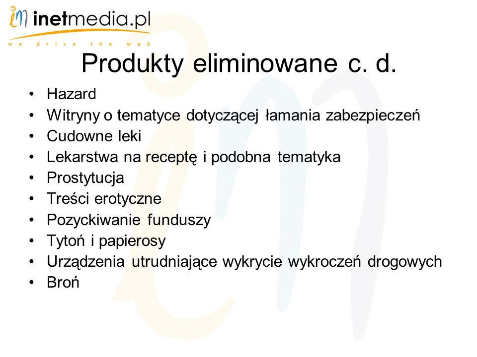 Produkty eliminowane c.d.