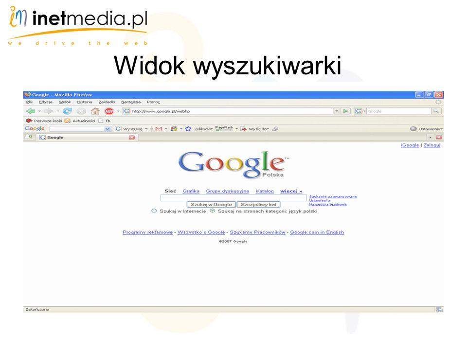 Widok wyszukiwarki