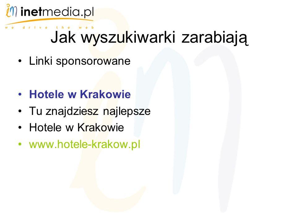 Jak wyszukiwarki zarabiają Linki sponsorowane Hotele w Krakowie Tu znajdziesz najlepsze Hotele w Krakowie www.hotele-krakow.pl