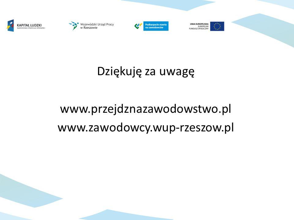 Dziękuję za uwagę www.przejdznazawodowstwo.pl www.zawodowcy.wup-rzeszow.pl