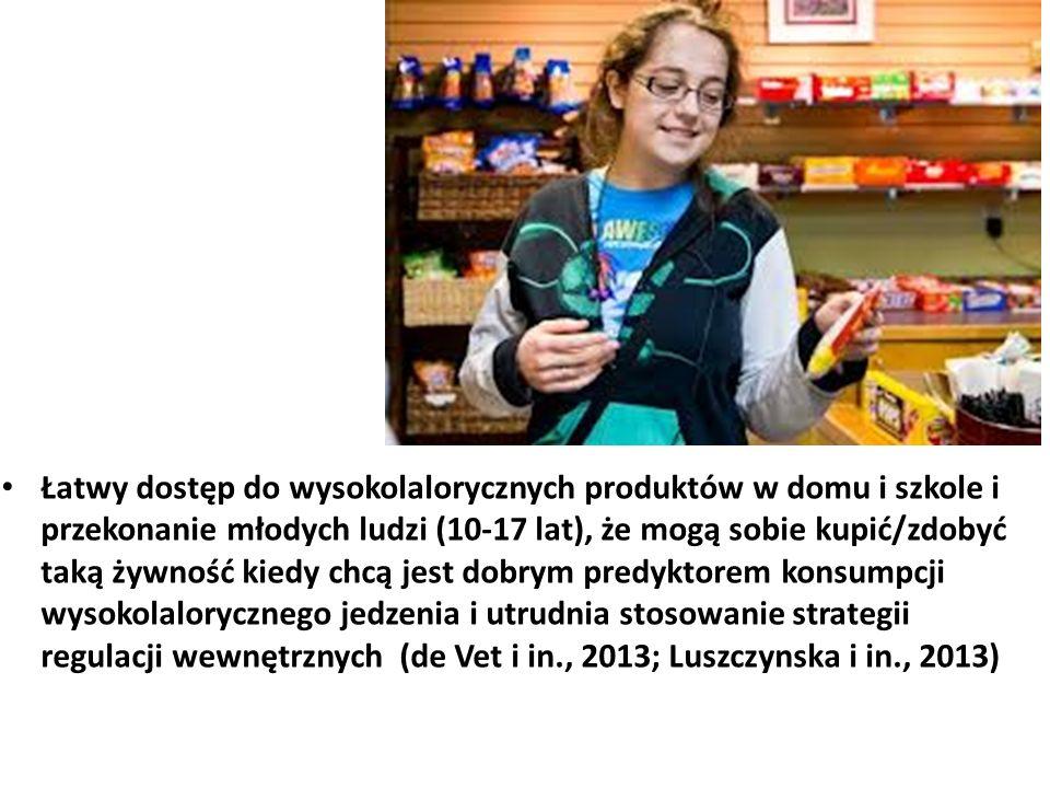 Łatwy dostęp do wysokolalorycznych produktów w domu i szkole i przekonanie młodych ludzi (10-17 lat), że mogą sobie kupić/zdobyć taką żywność kiedy chcą jest dobrym predyktorem konsumpcji wysokolalorycznego jedzenia i utrudnia stosowanie strategii regulacji wewnętrznych (de Vet i in., 2013; Luszczynska i in., 2013)