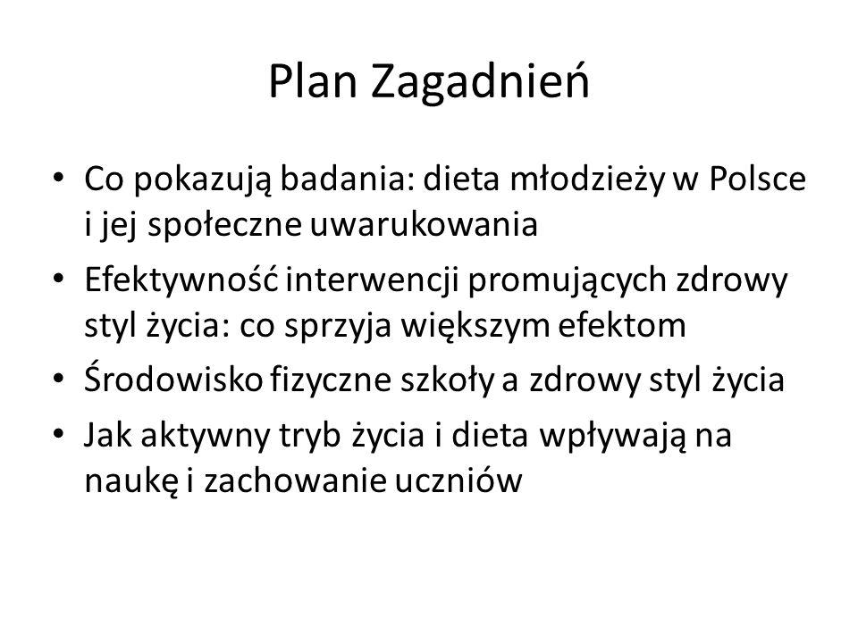 Plan Zagadnień Co pokazują badania: dieta młodzieży w Polsce i jej społeczne uwarukowania Efektywność interwencji promujących zdrowy styl życia: co sp