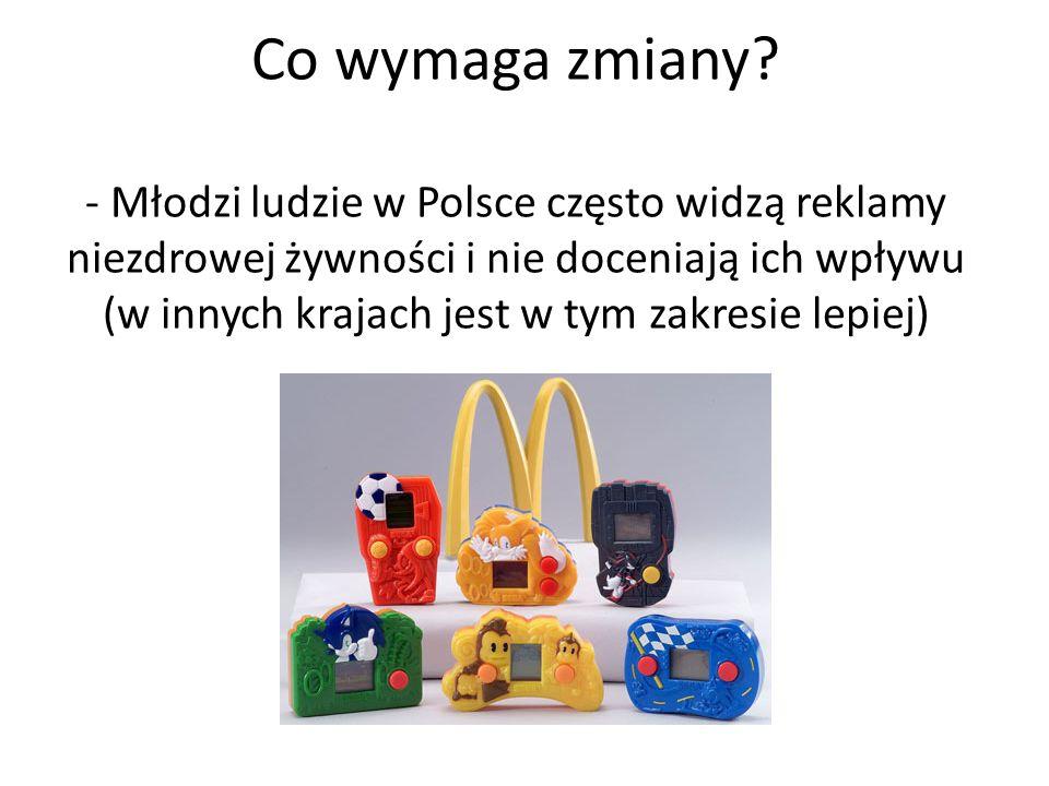 Co wymaga zmiany? - Młodzi ludzie w Polsce często widzą reklamy niezdrowej żywności i nie doceniają ich wpływu (w innych krajach jest w tym zakresie l