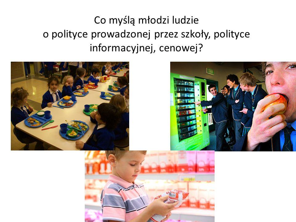 Co myślą młodzi ludzie o polityce prowadzonej przez szkoły, polityce informacyjnej, cenowej?