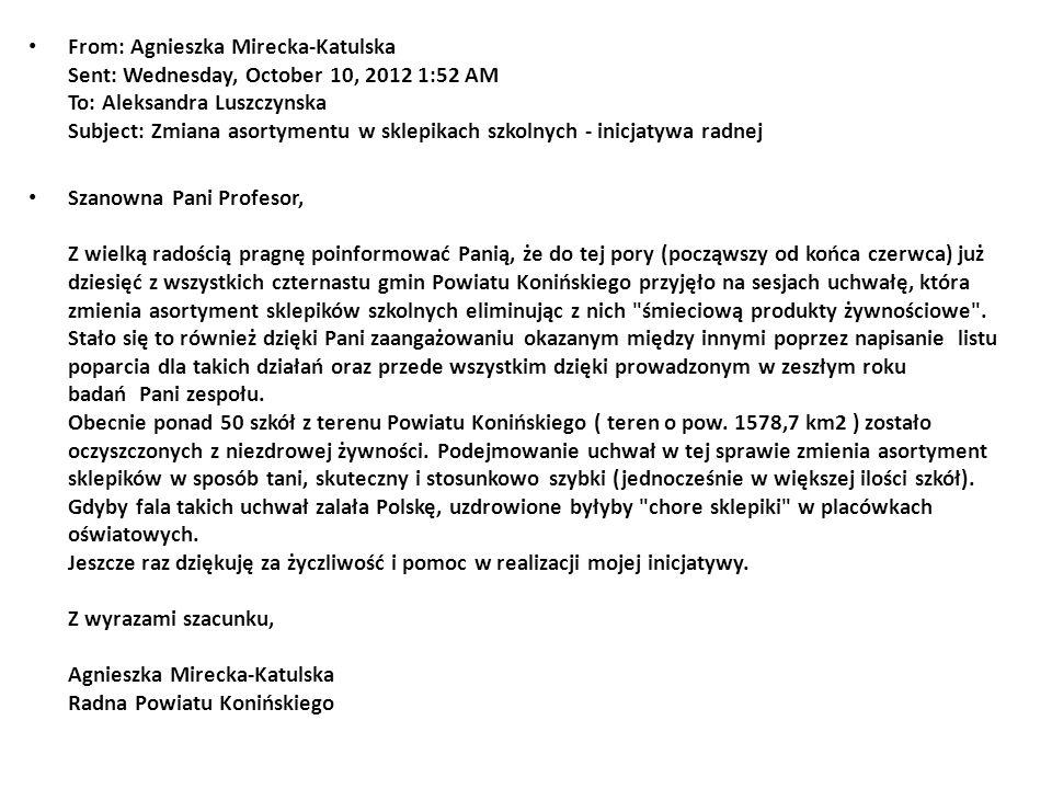 From: Agnieszka Mirecka-Katulska Sent: Wednesday, October 10, 2012 1:52 AM To: Aleksandra Luszczynska Subject: Zmiana asortymentu w sklepikach szkolny