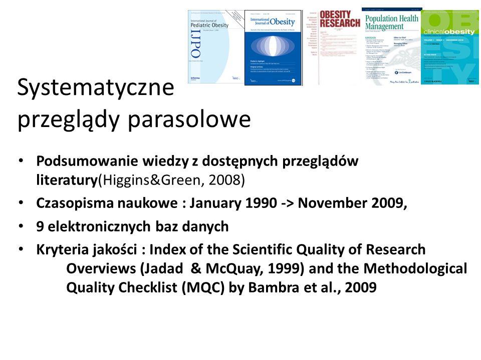 Systematyczne przeglądy parasolowe Podsumowanie wiedzy z dostępnych przeglądów literatury(Higgins&Green, 2008) Czasopisma naukowe : January 1990 -> No