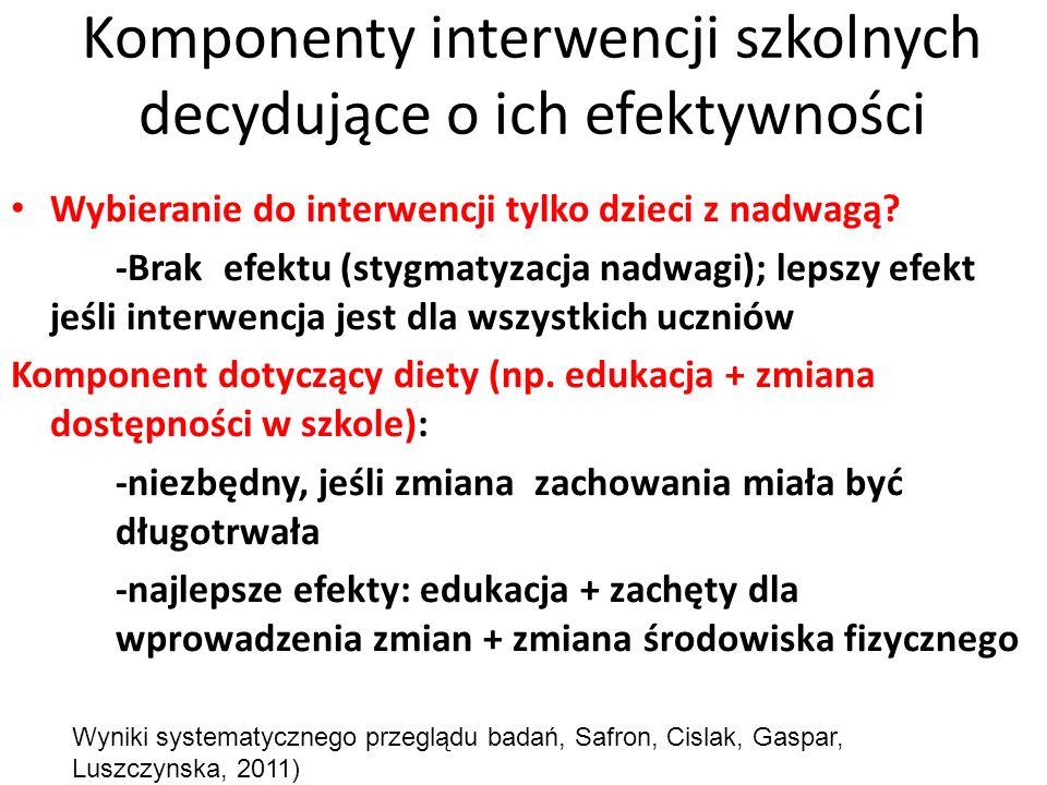 Komponenty interwencji szkolnych decydujące o ich efektywności Wybieranie do interwencji tylko dzieci z nadwagą? -Brak efektu (stygmatyzacja nadwagi);