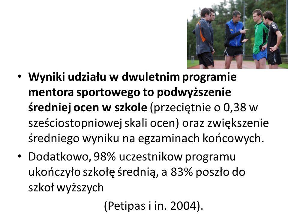 Wyniki udziału w dwuletnim programie mentora sportowego to podwyższenie średniej ocen w szkole (przeciętnie o 0,38 w sześciostopniowej skali ocen) oraz zwiększenie średniego wyniku na egzaminach końcowych.