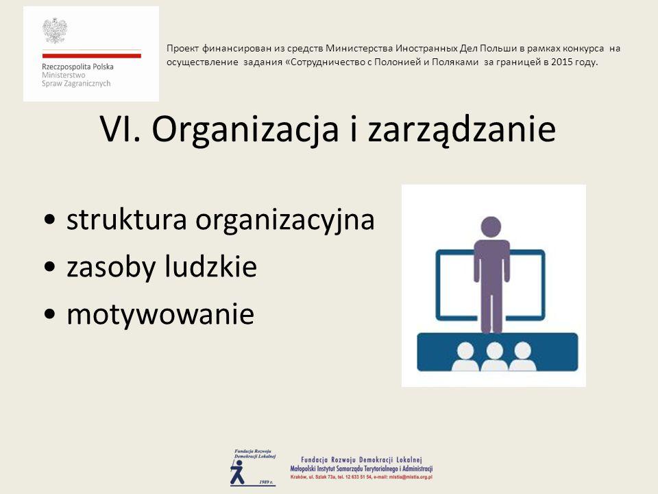 struktura organizacyjna zasoby ludzkie motywowanie VI.